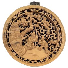 Figural Carved Wood Plaque