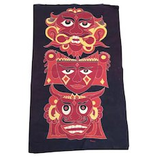 Asian  Embroidery  with Mask Like Images