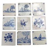 Nine Antique Delft Tiles