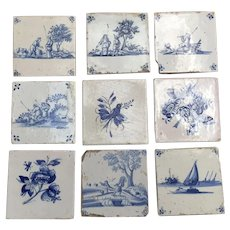 Nine 18th century Antique Delft Tiles