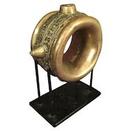 Large African Brass Manilla on Stand
