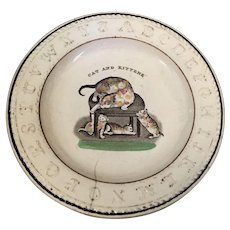 18th 19th Century prattware ABC creamware Cat and Kittens childs plate - Red Tag Sale Item