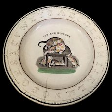 18th 19th Century prattware ABC creamware Cat and Kittens childs plate