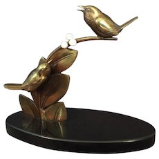 French Art Deco Gilt Bronze Bird Sculpture by E. Guy