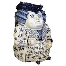Antique Dutch Delft Female Toby Jug 19th Century