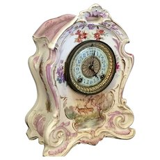 Royal Bonn - Ansonia Enameled Clock with Deer