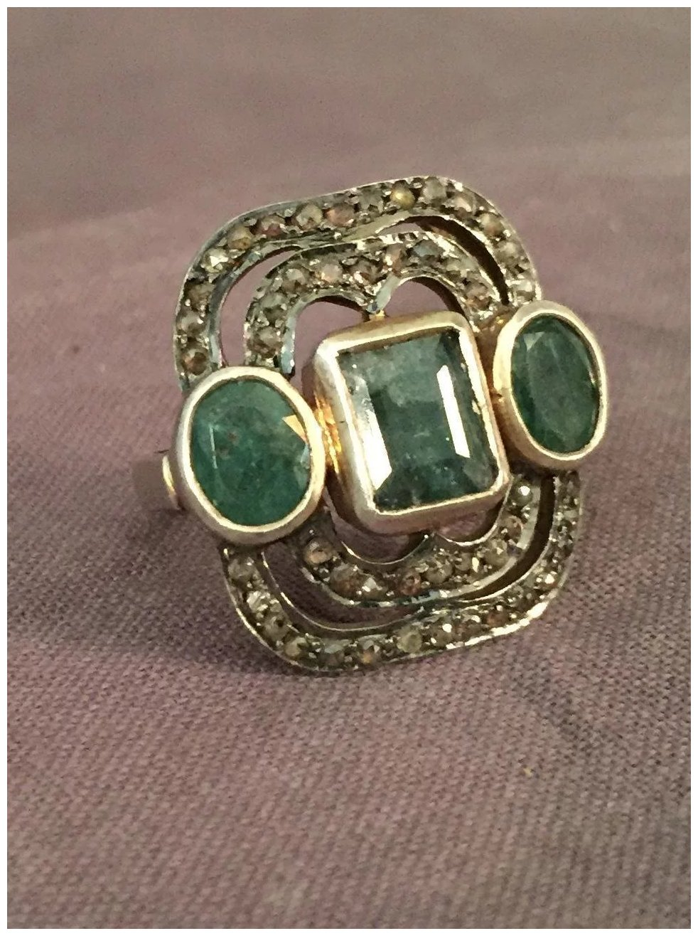 Emerald and Diamond Mixed Metal Ring : The Steffen ...