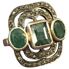 Emerald and Diamond Mixed Metal Ring