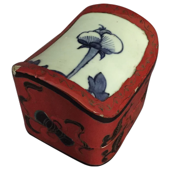 Japanese Lacquer Box with Porcelain Insert