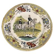 French Equestrian Transfer-Ware Plate
