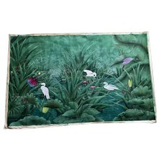 Bali Gouache Of Birds in a Pond