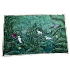 Bali Gouache Of Birds in a Pond