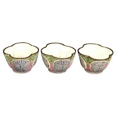 Trio of Chinese Enamel on Copper Cups