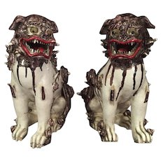 Pair Asian Figures Lions