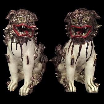 Pair Asian Figures Lions