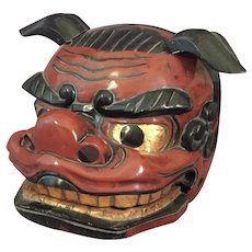 Japanese Carved Wood Lion Mask