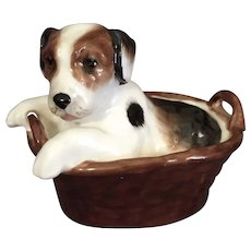 Miniature Dog in his Basket by Royal Doulton - Red Tag Sale Item