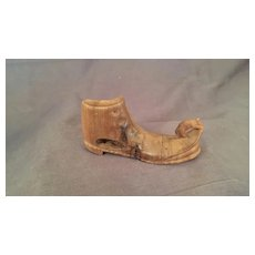 Miniature Treen Boot or Shoe with a Mouse