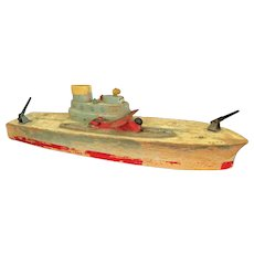 Toy Wooden Cruiser Ship with Aircraft Launcher