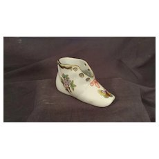 Miniature Herend Porcelain Baby Shoe