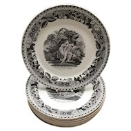 Set of Ten 19th Century Plates from Choisy-le-Roi in France