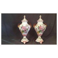 Tall Porcelain Covered Jars or  Vases