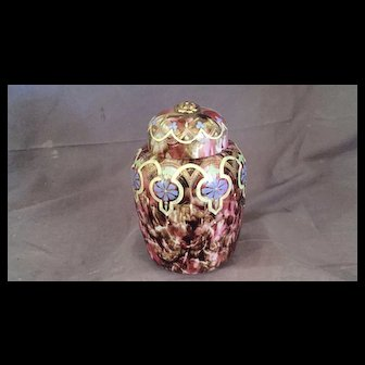 Moser Style Art Glass Covered Jar