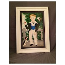 Folk Art Painting of  Boy and his Dog