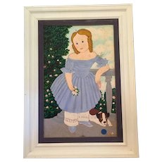 Folk Art Painting of a Girl with her Dog