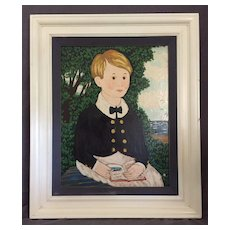 Folk Art Painting of a Boy by the Sea