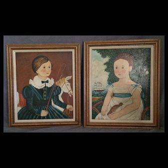 Pair of Folk Art Paintings  of Girls