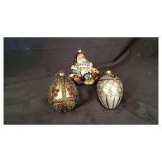 Santa and two Christmas Ornaments
