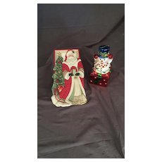 Santa Tray and Snowman Box in ceramic