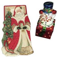 Santa Tray and Snowman Box in ceramic