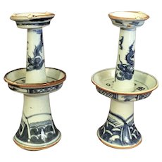 Pr 18th Century Porcelain Chinese Dragon Candlesticks