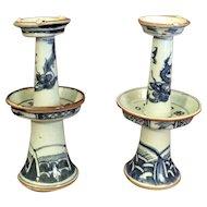 Pr 18th Century Porcelain Chinese Dragon Candlesticks