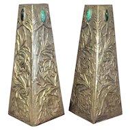 Pair Arts & Crafts [ Aesthetic Movement] Metal Vases