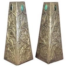 Pair Arts & Crafts [ Aesthetic Movement] Metal Vases