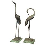 Pair of Bronze Cranes on Stone Bases