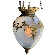 Opalescent Glass Pendant Lantern Chandelier with Ormolu Mounts
