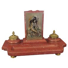 Henri Chapu Marble and Gilt Ink Stand