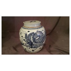 Old Chinese Dragon Kangxi-Style Covered Jar
