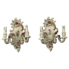 Pair Old German Porcelain Wall  Sconces