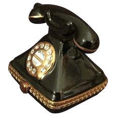"Limoges Miniature Porcelain Telephone Box  2 "" H"