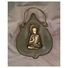 Gilt Brass and Leather Chinese Buddhists Hanging