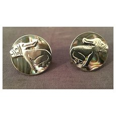 Taxco Sterling and Abalone Donkey Earrings