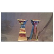 Art Deco Style Pottery Candlesticks