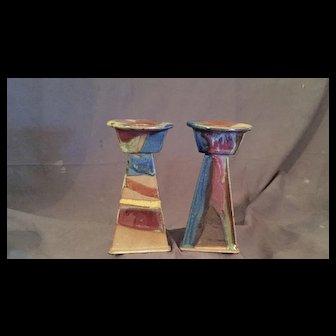 Art Deco Style Pottery Candlesticks