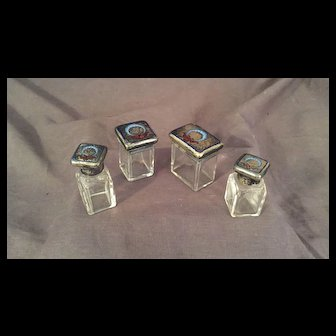Antique  English Sterling Silver and Crystal Dresser Jars