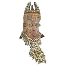 "African Kuba Mask  Bwoom Zaire  16"" Tall"